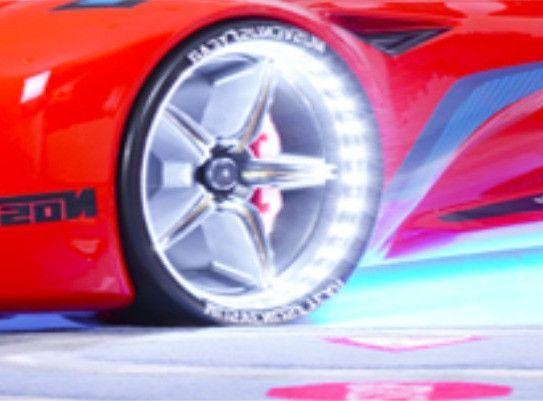 Lit voiture de sport rouge à Led avec effets sonores Racing 90x190 cm - Photo n°6