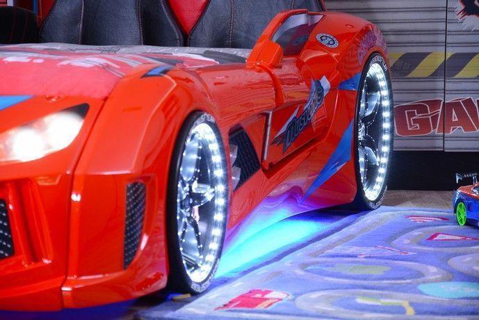 Lit voiture de sport rouge à Led avec effets sonores Racing 90x190 cm - Photo n°2