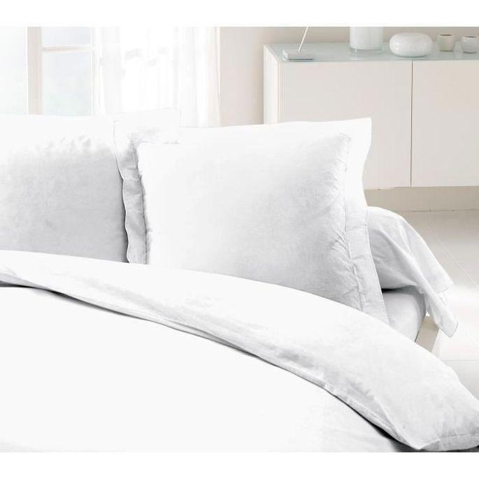 LOVELY HOME Lot de 2 Taies d'Oreillers 100% coton 63x63 cm blanc - Photo n°1