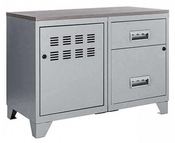 Meuble 1 porte 2 tiroirs métal gris aluminium et plateau chêne naturel Naya L 80 x H 60 x P 40 cm - Photo n°1