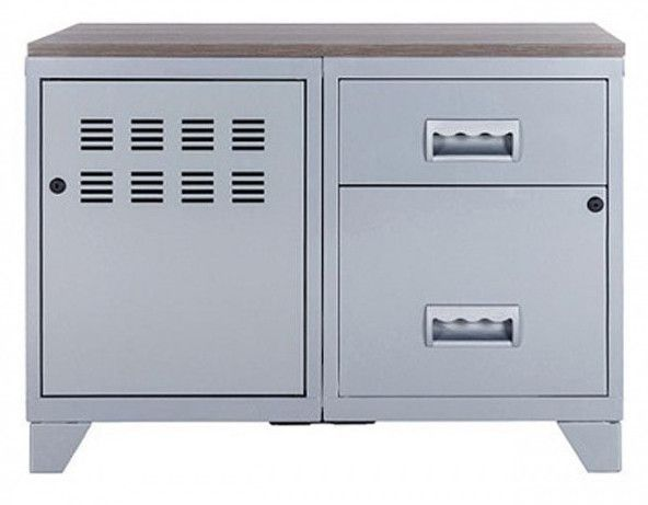Meuble 1 porte 2 tiroirs métal gris aluminium et plateau chêne naturel Naya L 80 x H 60 x P 40 cm - Photo n°2