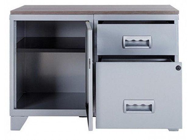 Meuble 1 porte 2 tiroirs métal gris aluminium et plateau chêne naturel Naya L 80 x H 60 x P 40 cm - Photo n°3