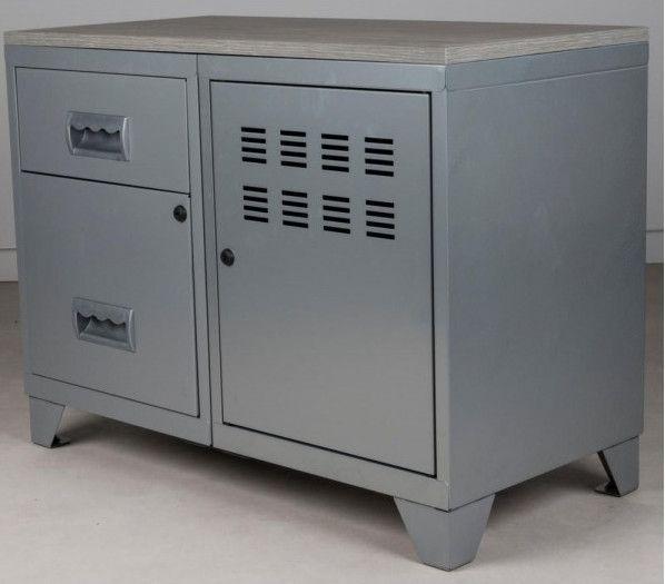 Meuble 1 porte 2 tiroirs métal gris aluminium et plateau chêne naturel Naya L 80 x H 60 x P 40 cm - Photo n°4