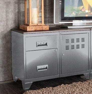 Meuble 1 porte 2 tiroirs métal gris aluminium et plateau chêne naturel Naya L 80 x H 60 x P 40 cm - Photo n°5