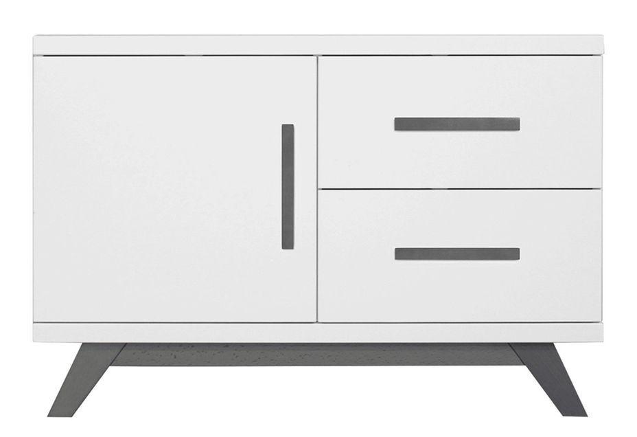 Meuble bas 1 porte 2 tiroirs bois blanc et pieds gris Levi - Photo n°1