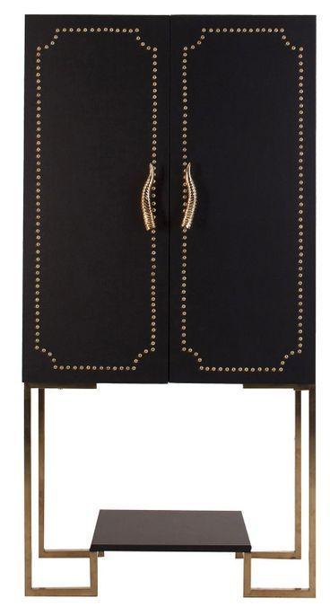 Meuble de bar art déco acier doré et simili cuir noir Lazur - Photo n°1