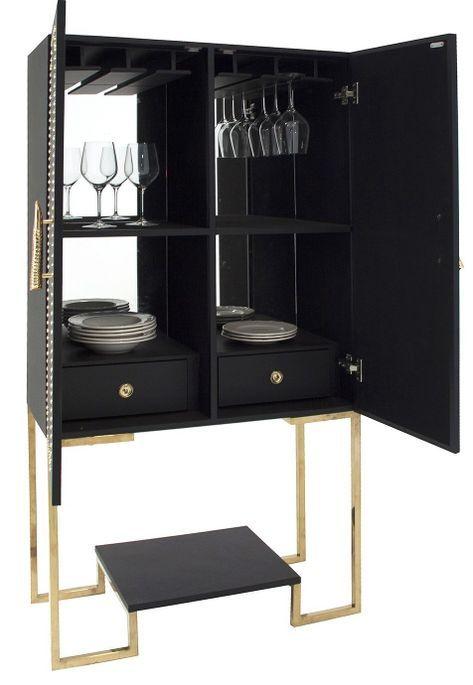 Meuble de bar art déco acier doré et simili cuir noir Lazur - Photo n°2
