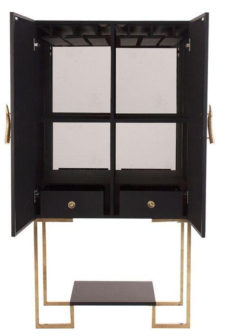 Meuble de bar art déco acier doré et simili cuir noir Lazur - Photo n°3