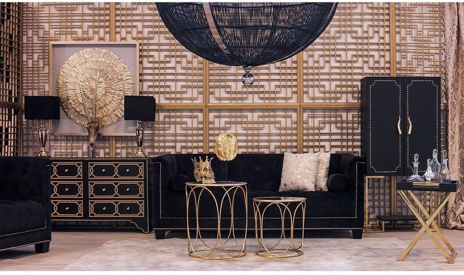 Meuble de bar art déco acier doré et simili cuir noir Lazur - Photo n°4