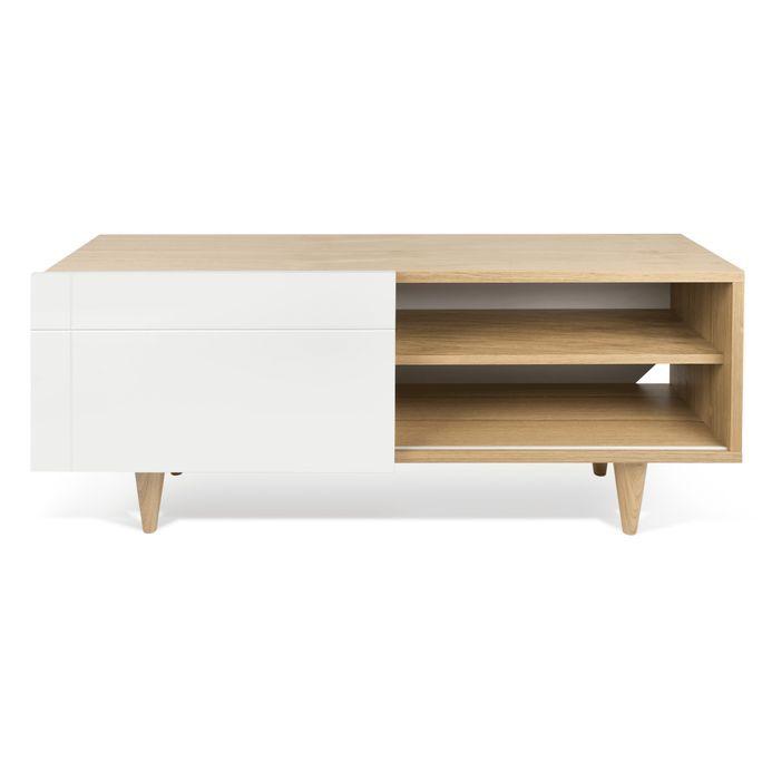 Meuble TV 1 porte bois chêne clair et blanc mat Delacruz - Photo n°1
