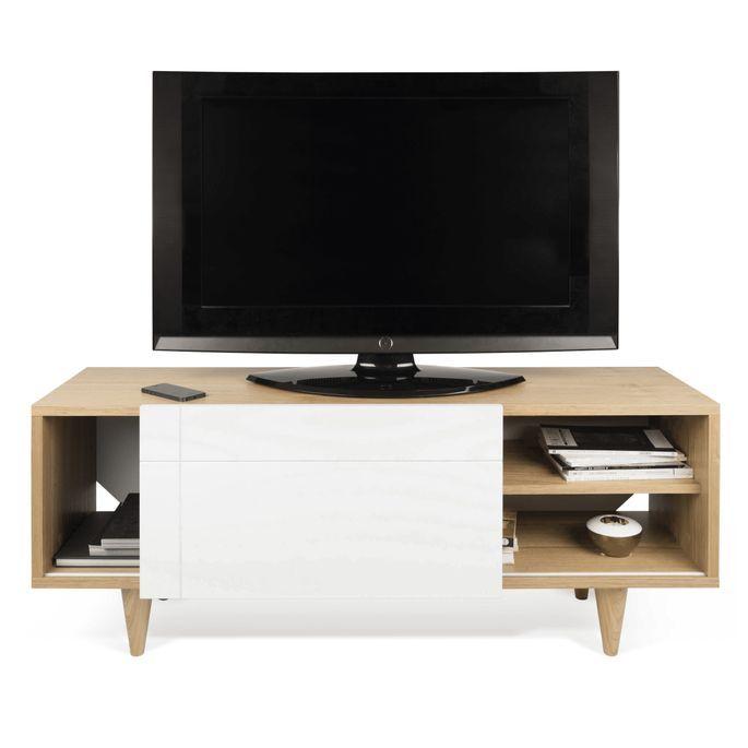 Meuble TV 1 porte bois chêne clair et blanc mat Delacruz - Photo n°3