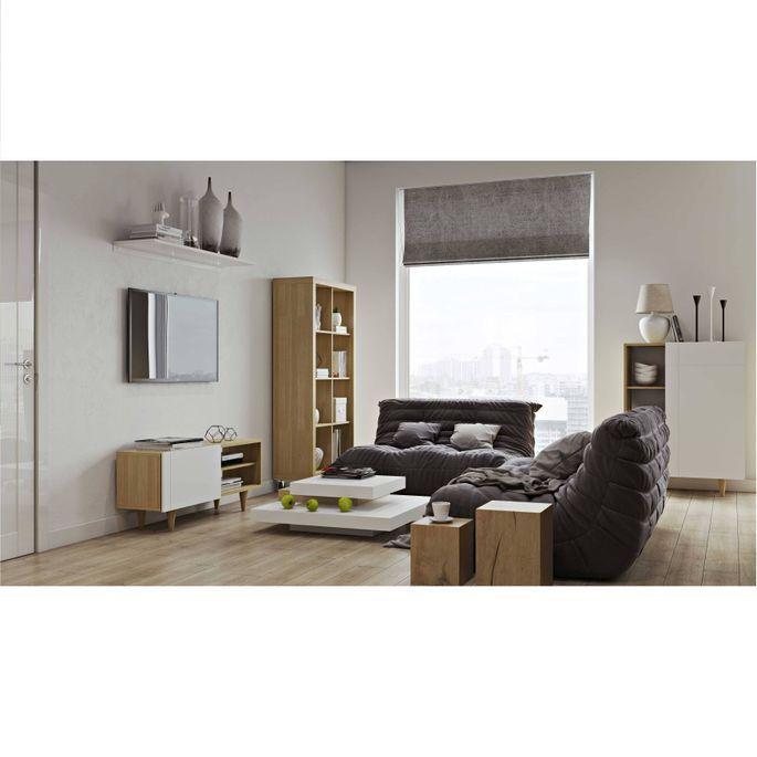 Meuble TV 1 porte bois chêne clair et blanc mat Delacruz - Photo n°4