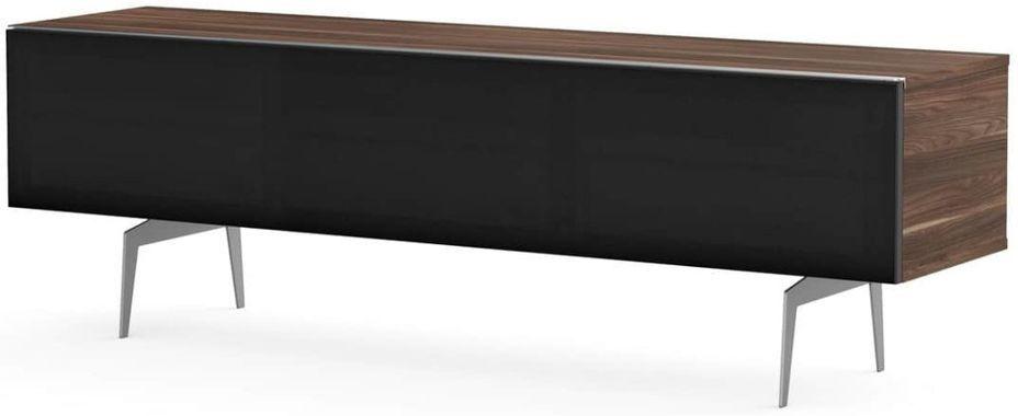 Meuble TV bois foncé et tissu acoustique noir Daphné 160 cm - Photo n°1