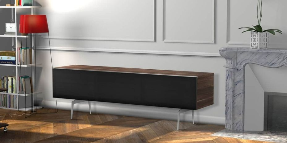 Meuble TV bois foncé et tissu acoustique noir Daphné 160 cm - Photo n°2