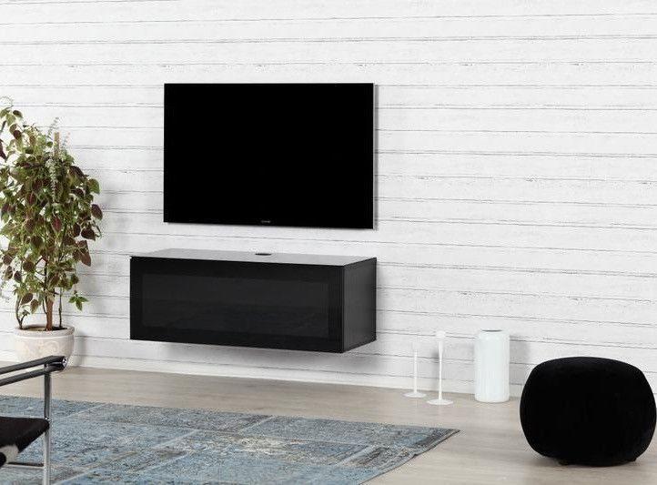Meuble TV suspendu Studio 110 verre infrarouge et bois mélaminé mat noir - Photo n°2