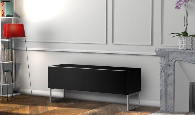 Meuble TV tissu acoustique et bois noir Palermo 120 cm - Photo n°4