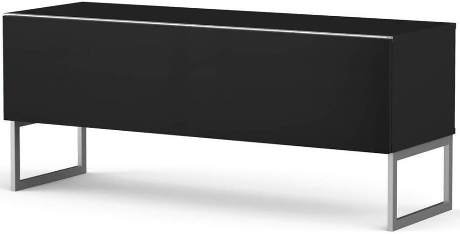 Meuble TV tissu acoustique et bois noir Palermo 120 cm - Photo n°1