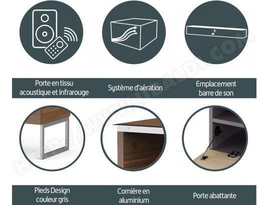 Meuble TV tissu acoustique et bois noir Palermo 120 cm - Photo n°5