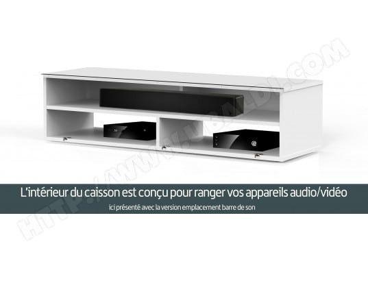Meuble TV tissu acoustique et bois noir Palermo 120 cm - Photo n°6