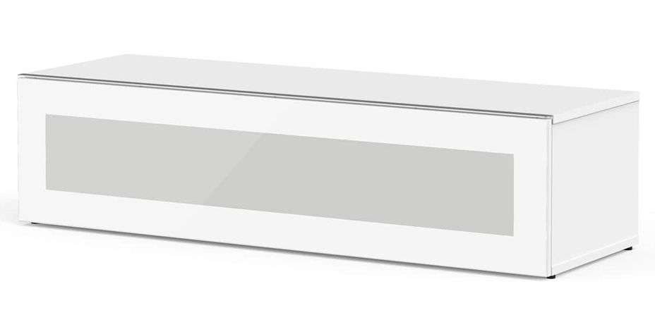 Meuble TV Topline Phoenix 120 verre infrarouge et bois brillant blanc - Photo n°1