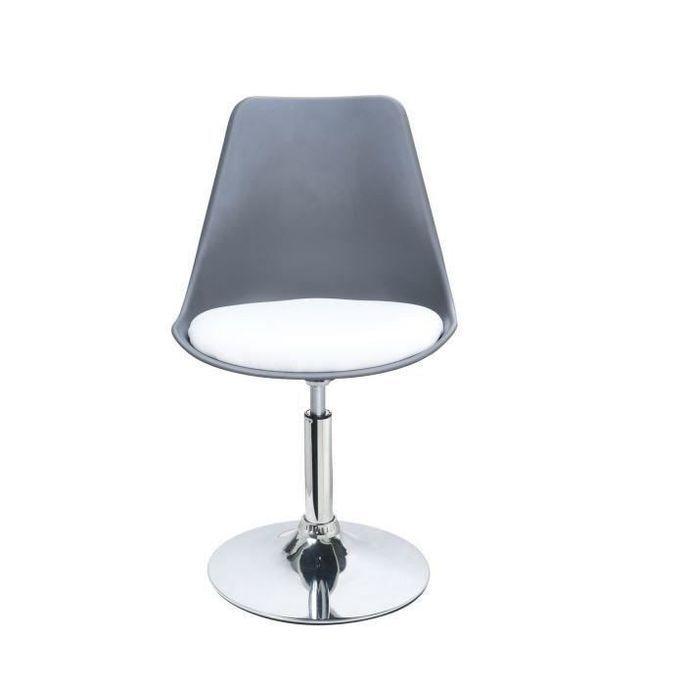 POPPY Chaise de salle a manger pivotante - Simili gris et blanc - Contemporain - L 48,5 x P 53 cm - Photo n°1