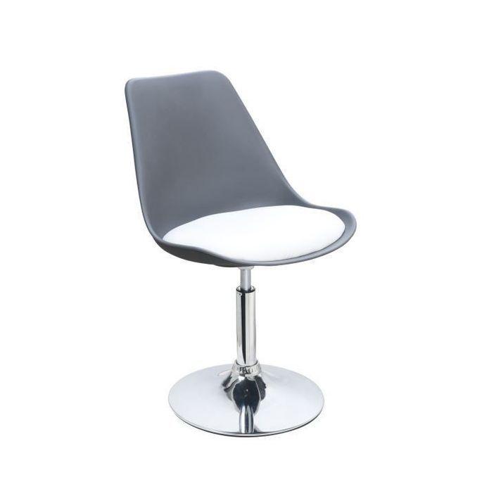 POPPY Chaise de salle a manger pivotante - Simili gris et blanc - Contemporain - L 48,5 x P 53 cm - Photo n°4