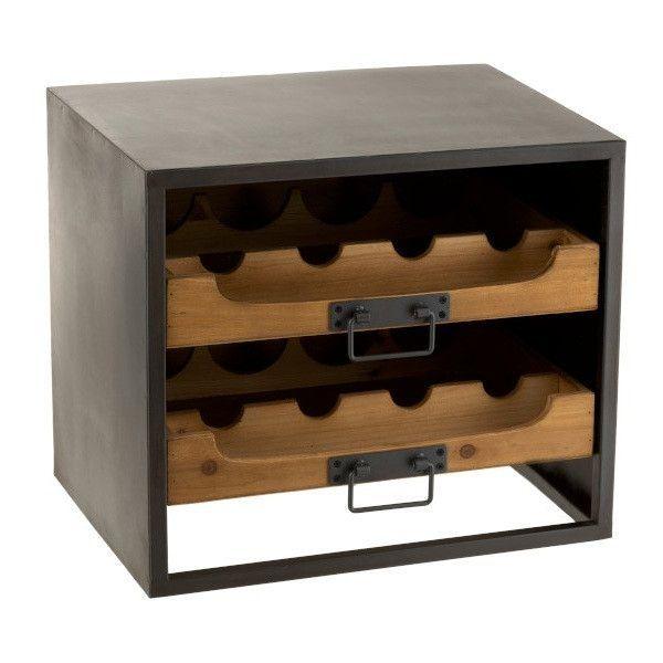 Range bouteilles bois massif foncé et métal noir Verde - Photo n°1