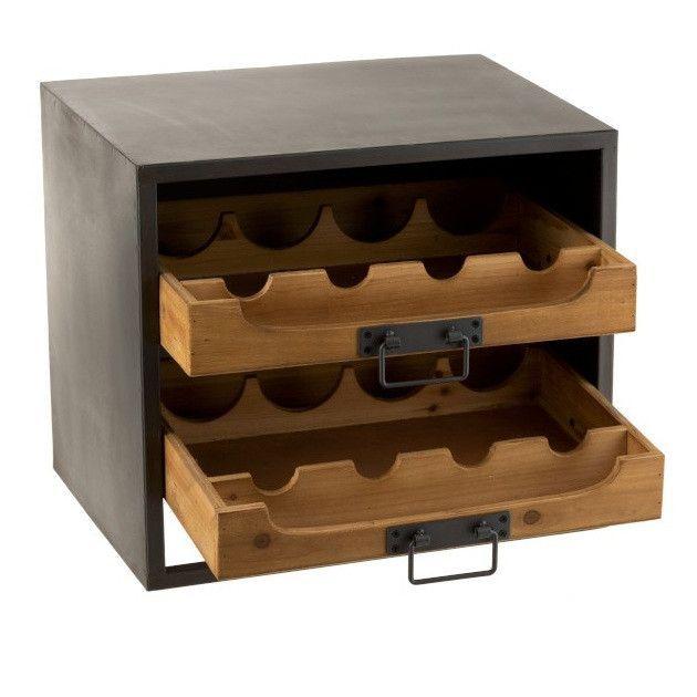 Range bouteilles bois massif foncé et métal noir Verde - Photo n°2