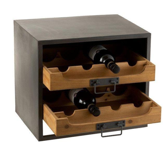 Range bouteilles bois massif foncé et métal noir Verde - Photo n°3