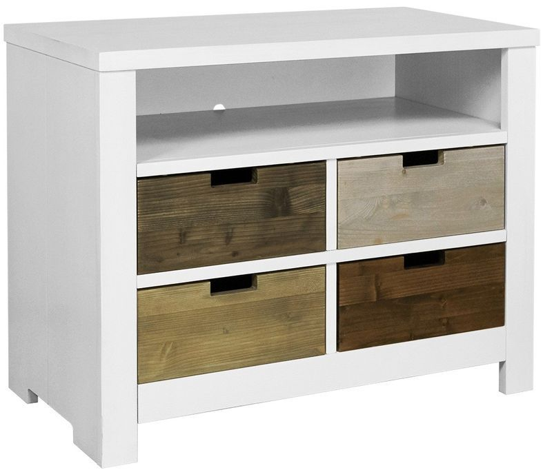 Rangement à tiroirs pin massif blanc Basic Wood - Photo n°1