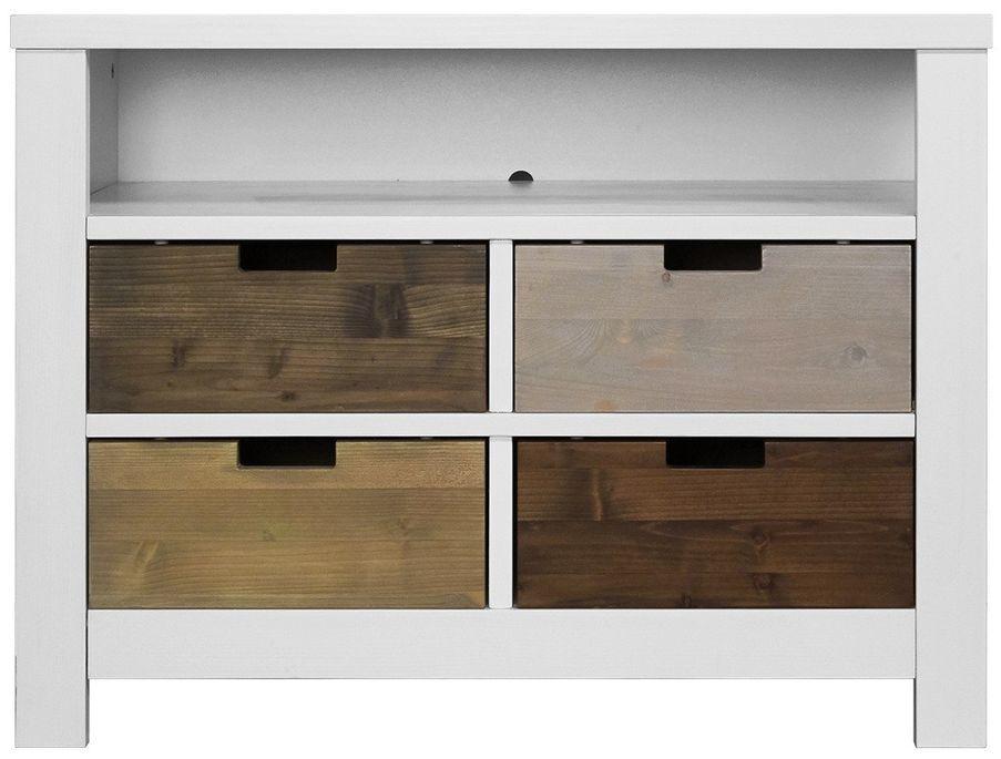 Rangement à tiroirs pin massif blanc Basic Wood - Photo n°2
