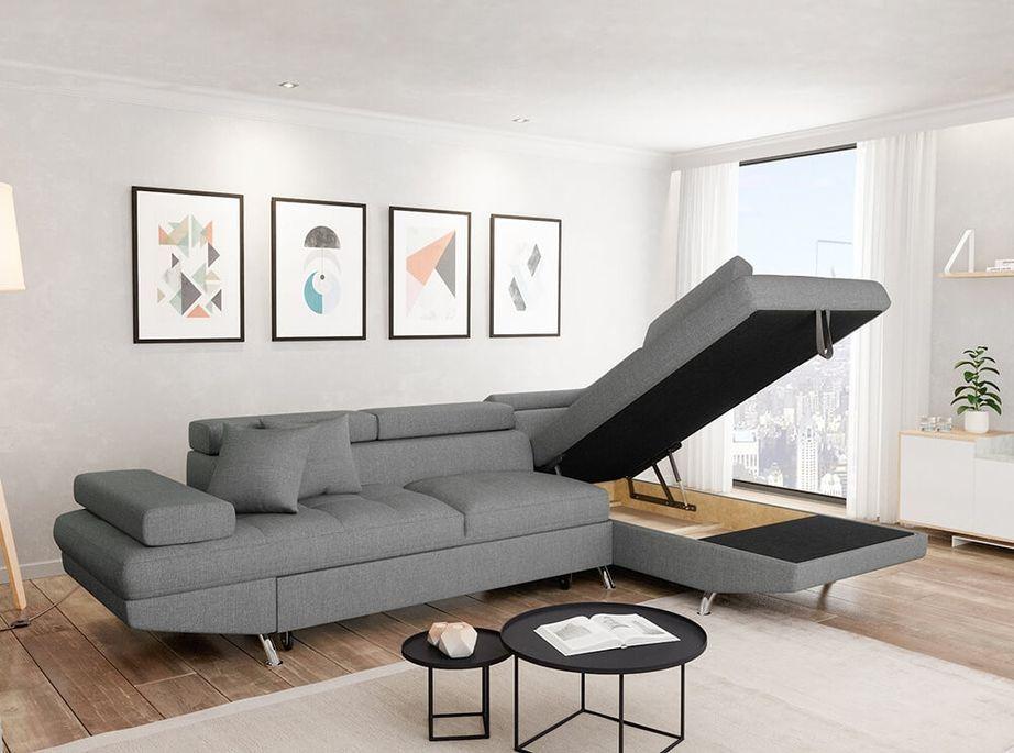 Canapé d'angle droit convertible avec appuis têtes tissu gris clair Mio 275 cm - Photo n°3