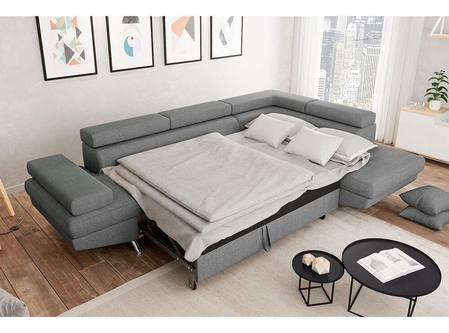 Canapé d'angle droit convertible avec appuis têtes tissu gris clair Mio 275 cm - Photo n°2
