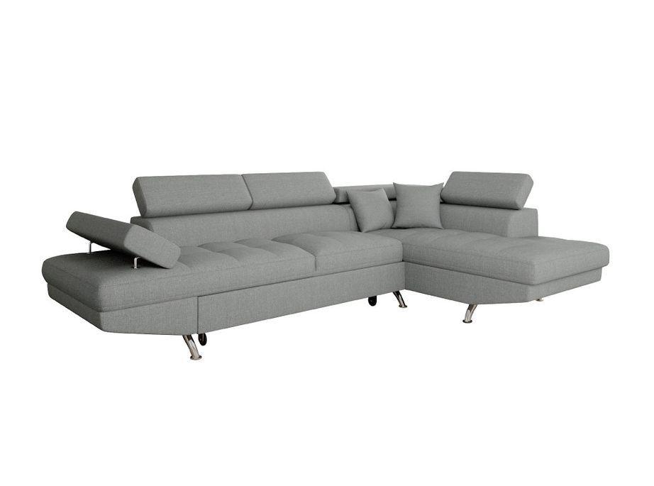 Canapé d'angle droit convertible avec appuis têtes tissu gris clair Mio 275 cm - Photo n°5