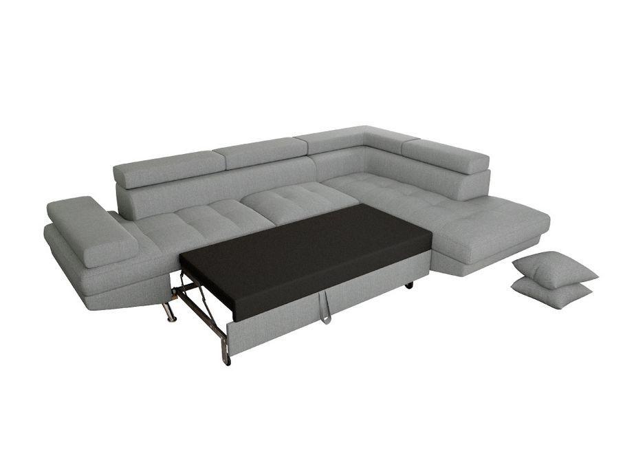 Canapé d'angle droit convertible avec appuis têtes tissu gris clair Mio 275 cm - Photo n°6