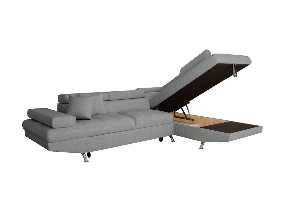 Canapé d'angle droit convertible avec appuis têtes tissu gris clair Mio 275 cm - Photo n°7