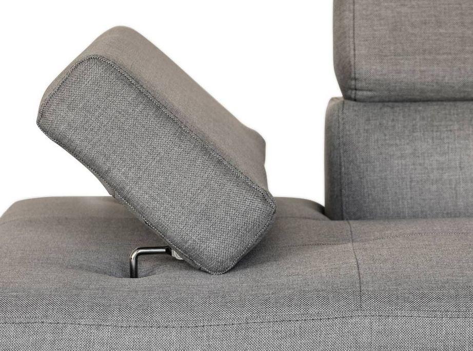 Canapé d'angle droit convertible avec appuis têtes tissu gris clair Mio 275 cm - Photo n°8