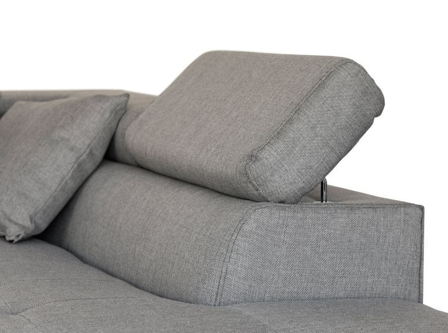 Canapé d'angle droit convertible avec appuis têtes tissu gris clair Mio 275 cm - Photo n°9