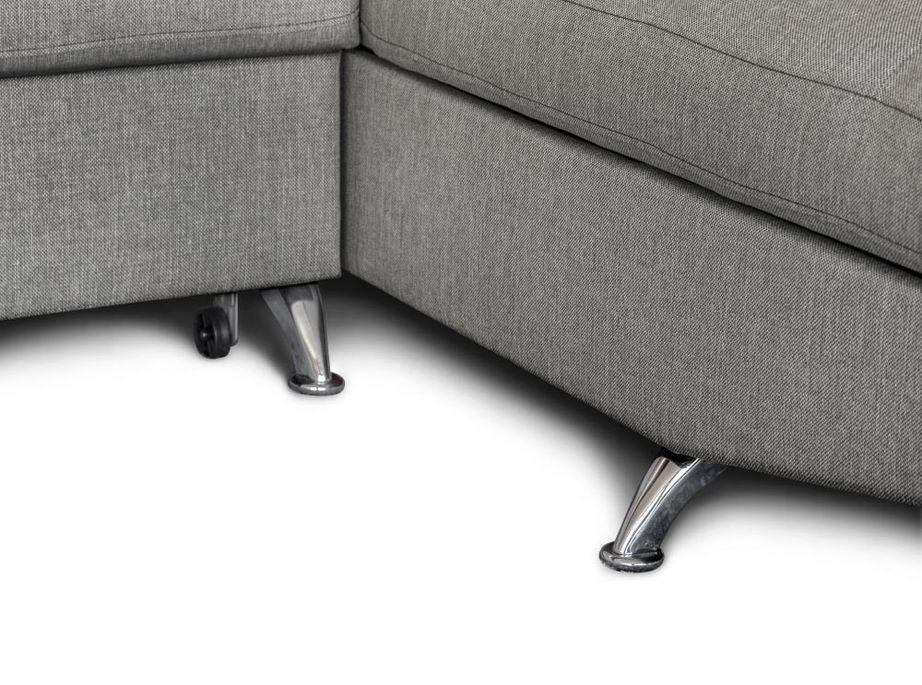 Canapé d'angle droit convertible avec appuis têtes tissu gris clair Mio 275 cm - Photo n°10