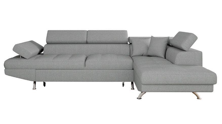 Canapé d'angle droit convertible avec appuis têtes tissu gris clair Mio 275 cm - Photo n°1