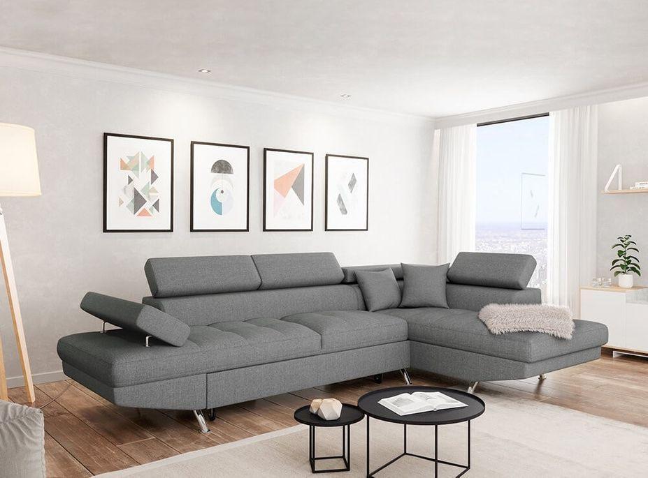 Canapé d'angle droit convertible avec appuis têtes tissu gris clair Mio 275 cm - Photo n°4