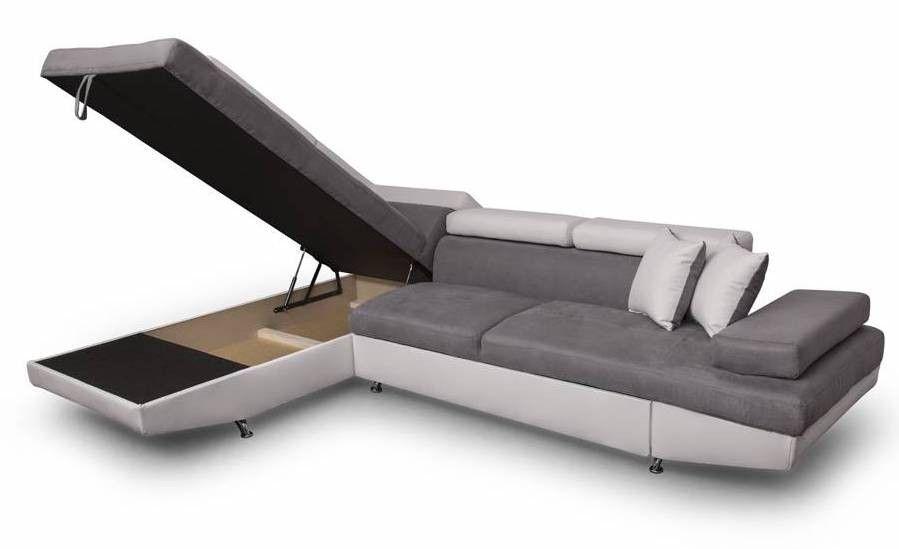 Canapé d'angle gauche convertible microfibre gris et simili blanc Mio 275 cm - Photo n°10