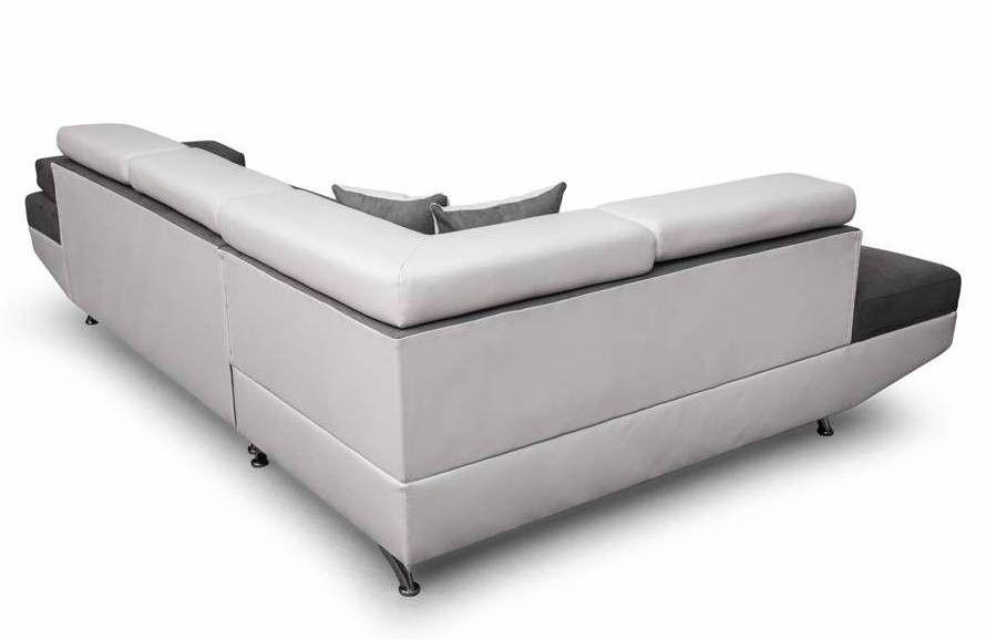 Canapé d'angle gauche convertible microfibre gris et simili blanc Mio 275 cm - Photo n°9
