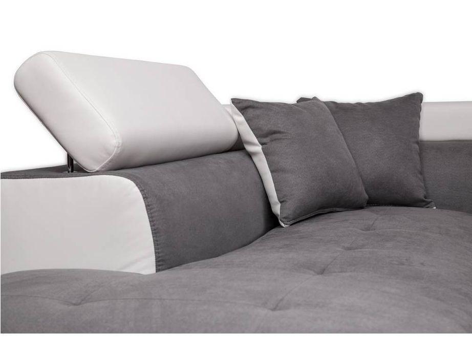 Canapé d'angle gauche convertible microfibre gris et simili blanc Mio 275 cm - Photo n°8