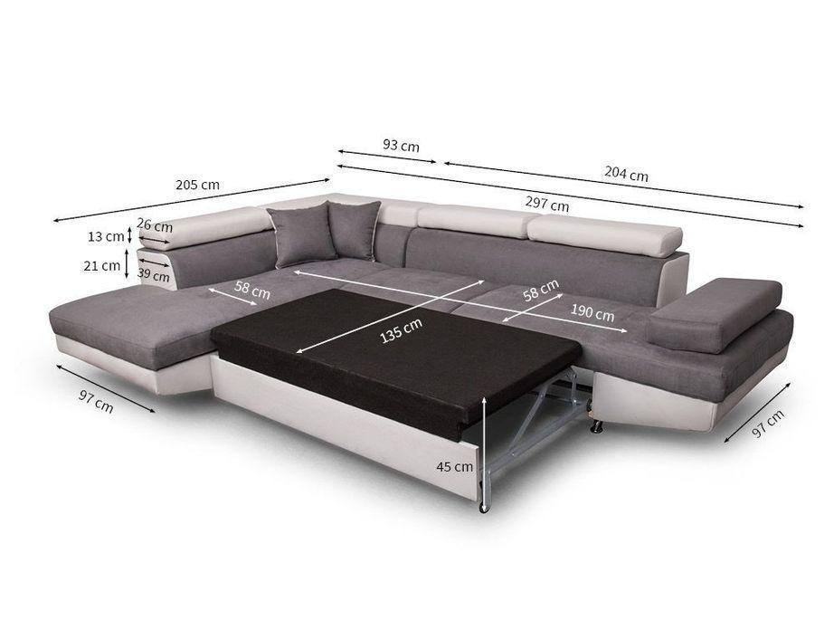 Canapé d'angle gauche convertible microfibre gris et simili blanc Mio 275 cm - Photo n°5
