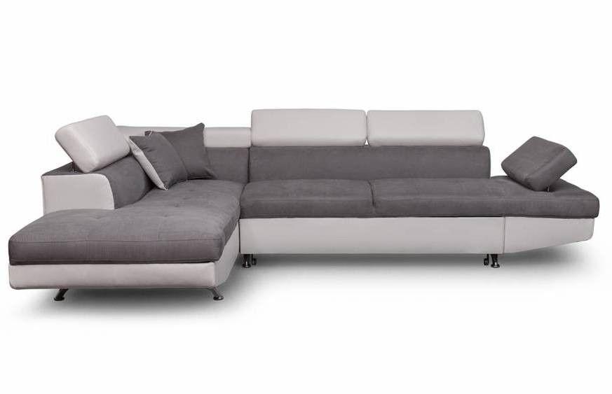 Canapé d'angle gauche convertible microfibre gris et simili blanc Mio 275 cm - Photo n°1