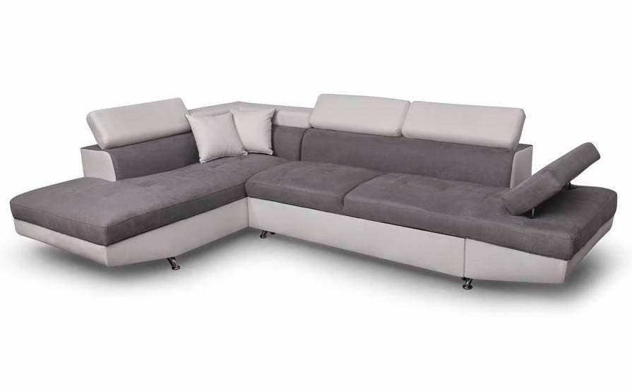 Canapé d'angle gauche convertible microfibre gris et simili blanc Mio 275 cm - Photo n°6