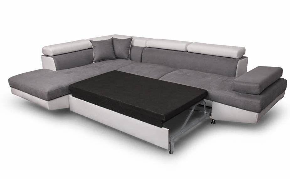 Canapé d'angle gauche convertible microfibre gris et simili blanc Mio 275 cm - Photo n°7