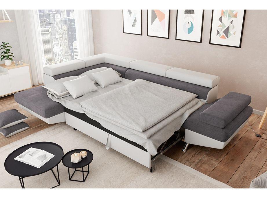 Canapé d'angle gauche convertible microfibre gris et simili blanc Mio 275 cm - Photo n°3