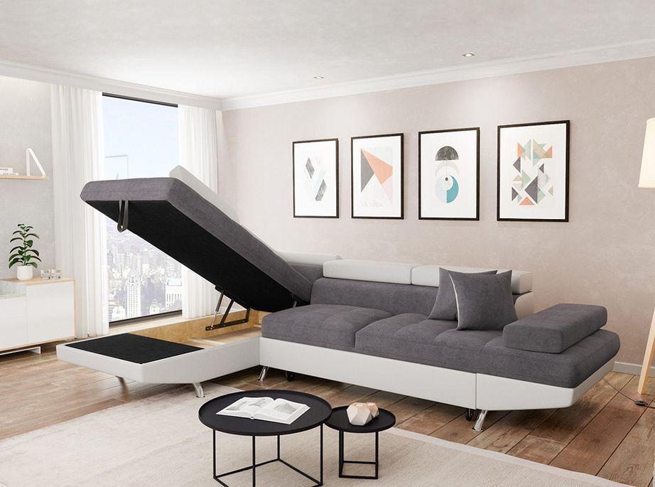 Canapé d'angle gauche convertible microfibre gris et simili blanc Mio 275 cm - Photo n°2